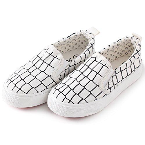 Petit Bari Kid's Low-Up Classic Slip On Check Canvas Shoes White 33 M EU/1.5-2 M US Little Kid (Canvas Shoes Check)