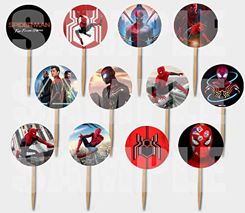 Spiderman Far from Home Movie Cupcake Picks - Double-Sided Images Cake Topper -12, Avengers Comics Super Hero -