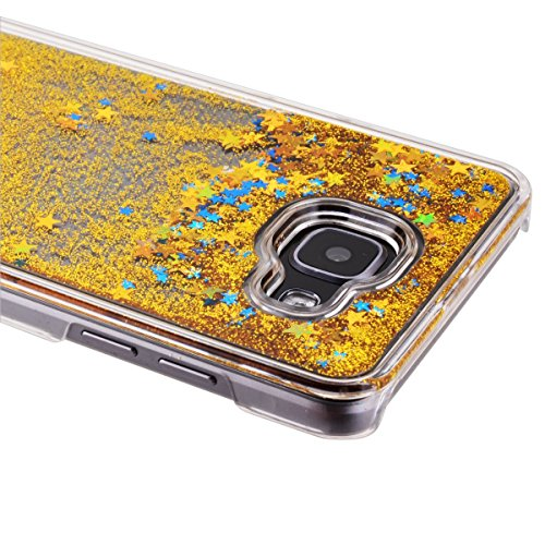 Funda Samsung A5 2016, CaseLover 3D Bling Bling Líquido Dinámico Arena Movediza Dura Carcasa Para Samsung Galaxy A5 2016 A510 (5.2 pulgadas) Glitter Estrellas Quicksand PC Plástic Claro Cristal Transp Oro