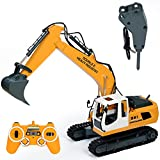 DoubleE RC Excavator Remote Control Tractor Toy Construction Vehicles 17 Channel Truck Deluxe Package with Metal Shovel and Breaker