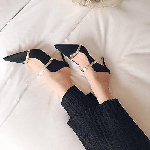 con Bauleu punta Nero sandali 36 a con e Punta DHG tacco ciabattine alto punta qZ5wCXE