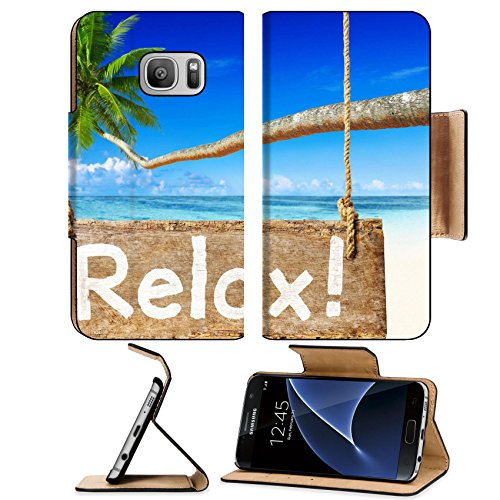 MSD Samsung Galaxy S7 Flip Pu Wallet Case IMAGE ID 34576764 Beautiful Beach Scenery With Palm Coconut Tree And A Sign Relax