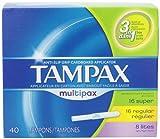 Tampax Anti-Slip Grip Cardboard Applicator, Lites/Regular/Super Multipax Absorbency Tampons 40 Count (Pack of 3)