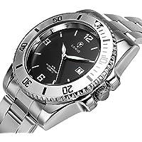 Men's Wrist Watch - COMIO Business Stainless Steel Waterproof Quartz Watches - Black