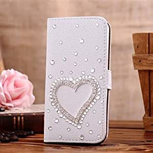 HJZ Diamond Heart Shaped PU Leather Full Body Case with Stand and Card Slot for Samsung Galaxy S5 I9600