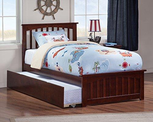 Atlantic Furniture AR8726014 Mission Platform Bed Twin Antique Walnut