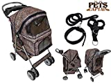 PetsCaptain Deluxe Pet Stroller Cat & Dog 4 Wheels Folding Travel Carrier Carriage with Leash, Harness, and Collar Bundle, Leopard Color, OWS24BL-LEOP