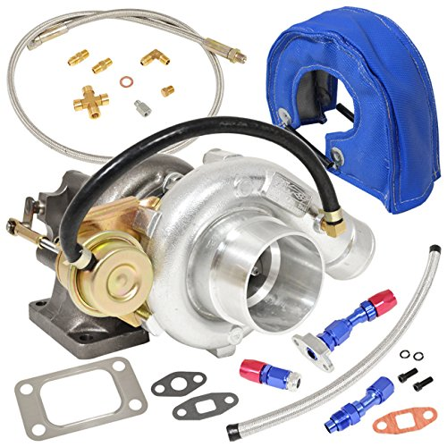 T3/T4 V-Band Oil Cooled Turbo Charger with Internal Wastegate T3 Flange Inlet Vband Outlet .60AR Compressor .63AR Turbine + Oil Return Drain Feed Line Kit + Heat Shield Cover Blue (Turbo Internal Wastegate)