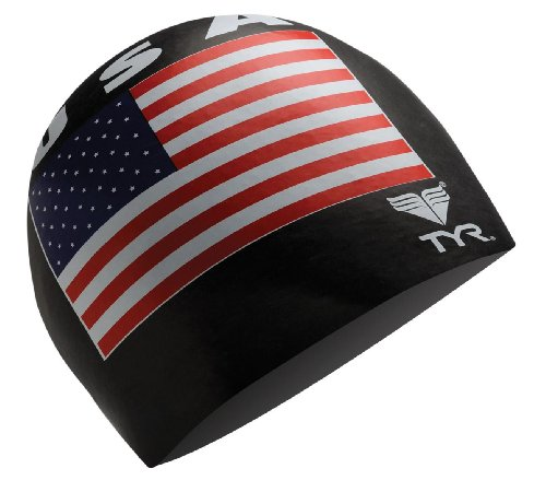 TYR USA Silicone Cap, Black - Cap Swimming Usa