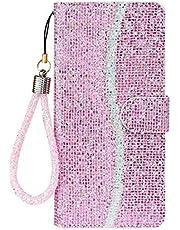 Lijc Hoesje voor iphone 12 Pro Max Pailletten Glitter PU Lederen Portemonnee met Standaard en Kaarthoudersleuven Magnetische Sluiting Schokbestendige Flip Cover-Roze