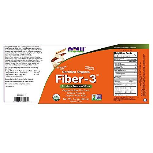 NOW Certified Organic Fiber-3, 1-Pound