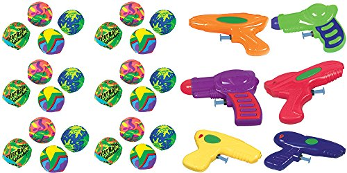 Maze One Ball (12 ct. Assorted Colors & Styles Water Squirter Value Pack and 24 ct. Splash Balls Party Bundle - Includes 1 Maze Game Activity Card by ClassicVariety)