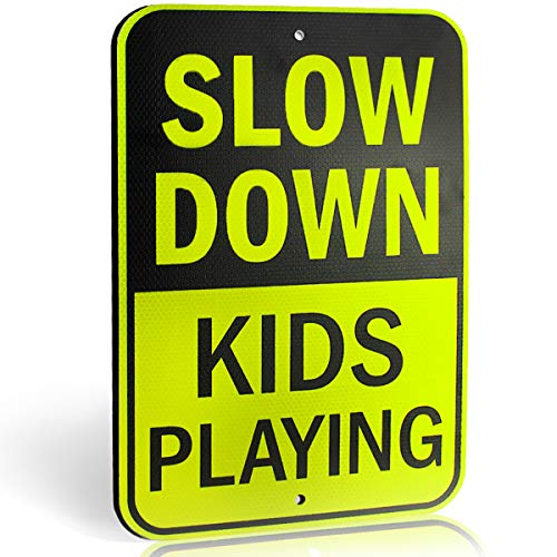(Slow Down Kids Playing Signs | Children at Play Yard Sign | Engineer Grade Ultra Reflective Yellow for Street Safety | Durable Heavy Duty Dibond Aluminum with | 18