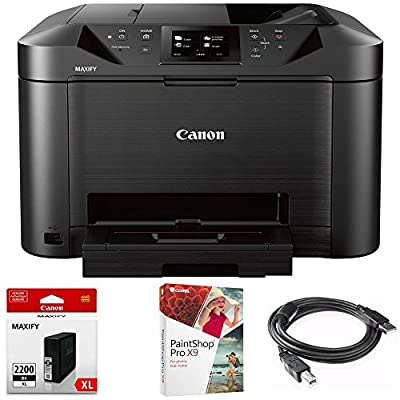 Canon MAXIFY MB5120 Wireless Color Printer w Scanner,Copier,Fax (MB5120) with XL Black Pigment Ink Tank, Corel Paint Shop Pro X9 Digital Download & High Speed 6-foot USB Printer Cable