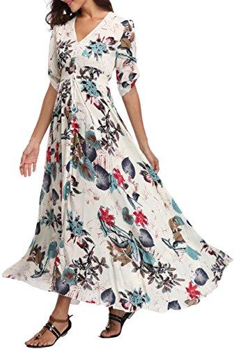 femme fendue haut VOGMATE demi longue Bouton robe cou floral vers le v maxi Ecru Jupe robe manches 2XL XS Casual dwZwAO