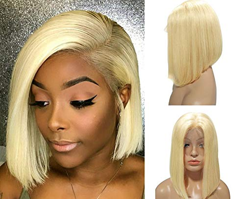 Blonde Lace Bob Wig Glueless Straight 8inch PrePlucked virgin human hair 180% Density Peruvian 13x4 Lace Frontal Short Cut Bob Style Middle Part for Women(Could be restyle) ()