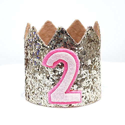 Mini Pale Gold Glitter Cake Smash Birthday Party Crown Hat - Baby to Toddler Size (Gold Glitter w/ Pink #2)