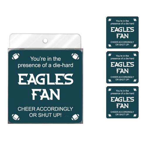 Tree-Free Greetings NC38131 Eagles Football Fan 4-Pack Artful Coaster Set