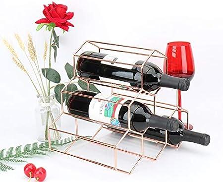 HCYSNG Práctico Estante para Botellas de Vino Vinoteca de pie Soporte para Botella de Vino de pie Independiente de Metal de Almacenamiento (Color : Rose Gold)