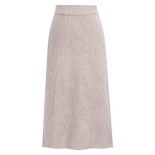 Falda de Punto de Cintura Alta para Mujer Falda de Color Liso Liso ...