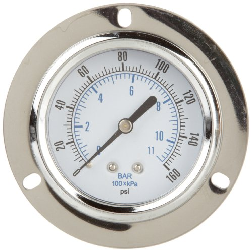 PIC Gauge 103D-254F Dry Filled Utility U-Clamp Panel Mount Pressure Gauge with Chrome Plated Steel Case, Chrome Bezel, Plastic Lens, 2-1/2