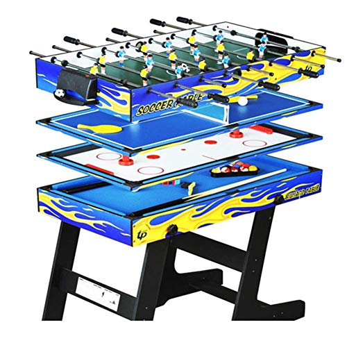 - MJ-Games 4-in-1 Multi-Function Folding Pool Table Ping Pong Table Ice Hockey Table Foosball Table Game for Kids and Adults