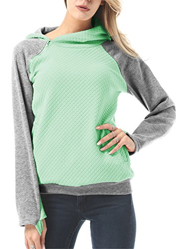 Women Fashion Hoodies Sweatshirts Long Sleeve Spliced Color Zipper Pullover Tops Green Gray XX-Large