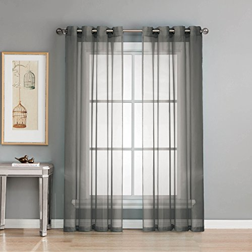 Window Elements Diamond Sheer Voile Extra Wide 56 x 90 in. Grommet Curtain Panel, Charcoal (Window Treatment Ideas)