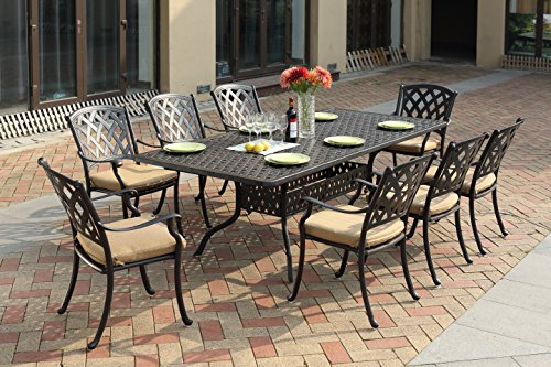 "Darlee 201630-9PC-30SLD Cast Aluminum 9 Piece Rectangle Dining Set & Cushions, 42"" by 92"", Antique Bronze"