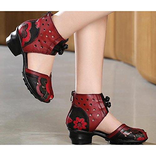 Schuhe Comfort Rot Schwarz Casual Rindsleder Frühling Sommer Stiefel Damen für 1qaZxOaw