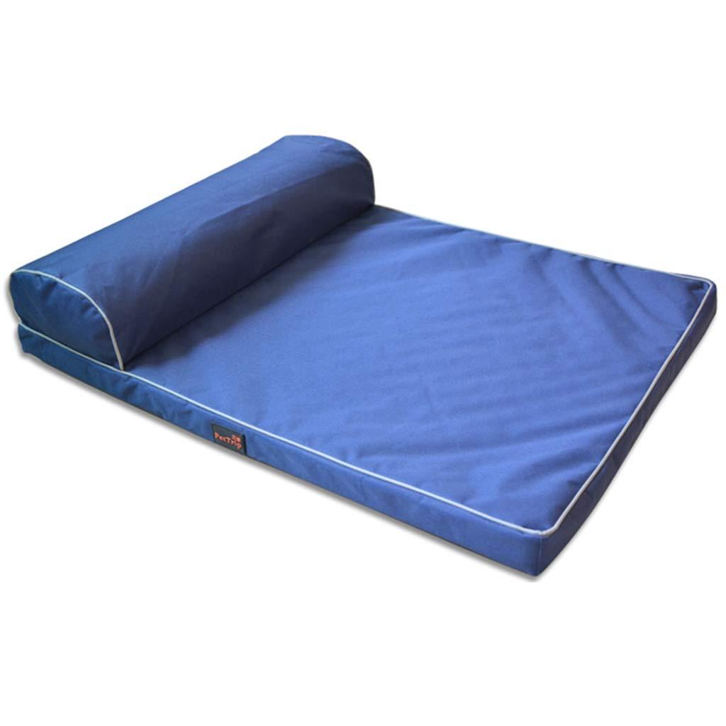bluee 80×60cm bluee 80×60cm Pet Mat, Large Dog Kennel Cat House Removable and Washable Pet Nest Wear-Resistant Bite Pet Bed Pet Supplies (color   bluee, Size   80×60cm)