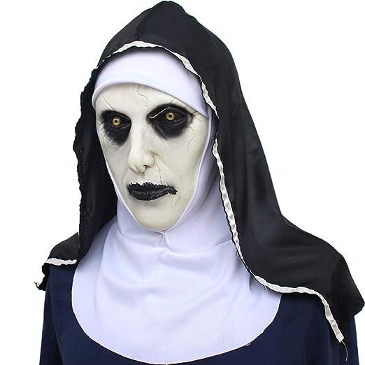 WYBXA Halloween, Máscara De Terror, Cara De Miedo Capucha Femenina, Festival Fantasma Máscara Divertida De Casco, Látex, Máscara Transpirable,Blackandwhite: ...