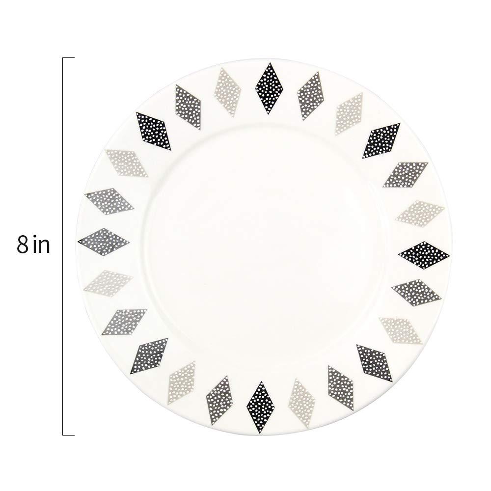 8-inch Nordic Style Porcelain Dinnerware Set Dinner Plates/Serving Platters with Rhombus Ring, Round&Elegant White