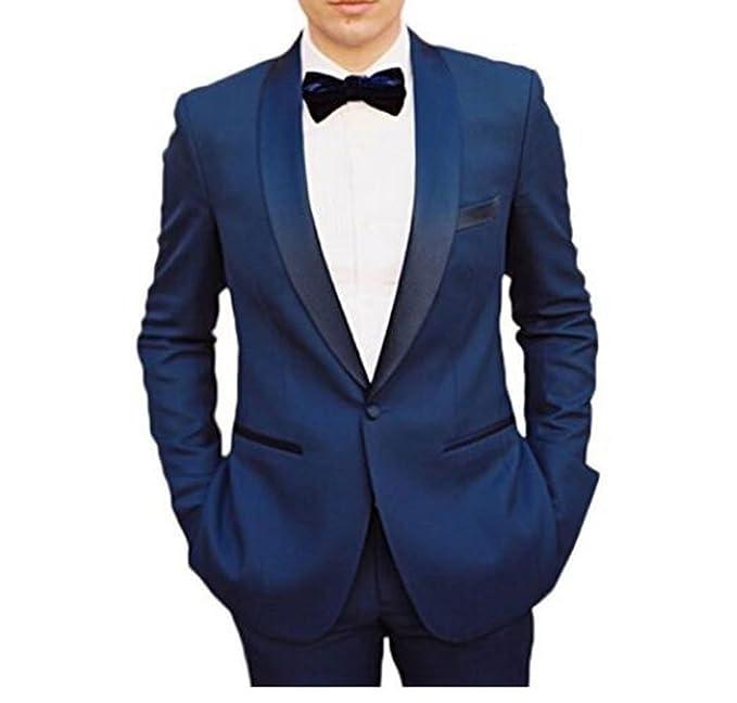 Amazon.com: Azul un botón chal solapa trajes de hombre 2 ...