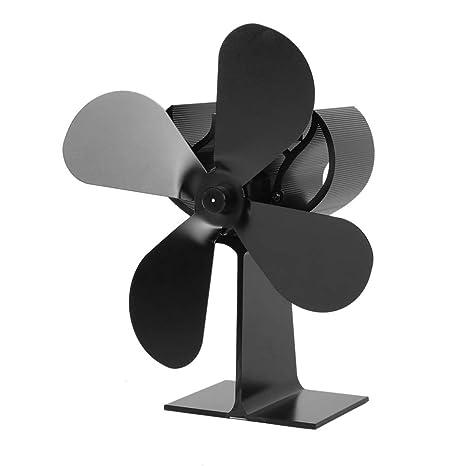 Dailyinshop 4-Blade Estufa de Calor del Ventilador accionado Registro de Madera Quemador Ecofan Quiet