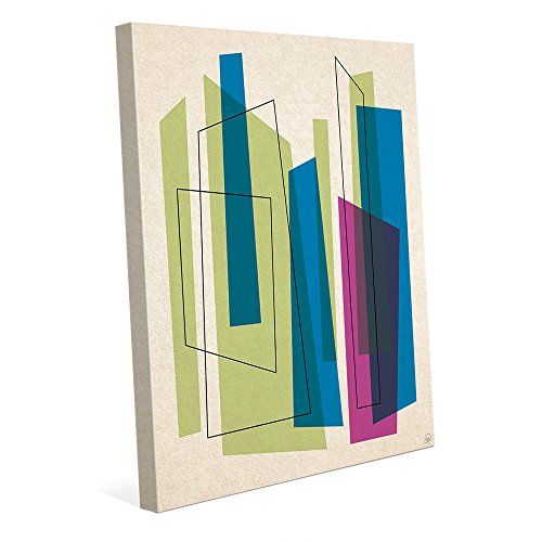 Broken Skyscrapers Green Blue And Purple: Mid-Century Retro Modern Postmodern Abstract Shape Linear Painting Drawing Illustration Wall Art Print 511msuHkOFL
