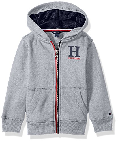 Tommy Hilfiger Little Boys' Long Sleeve Matt Logo Zip Up Hoodie, Matt Grey, 4