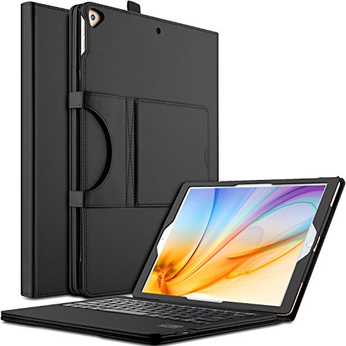 IVSO Apple iPad Pro 12.9 Case With Keyboard Ultra-Thin DETACHABLE Bluetooth Keyboard Stand Case / Cover for Apple iPad Pro 12.9-inch 2015/2017 Version Tablet (Black)