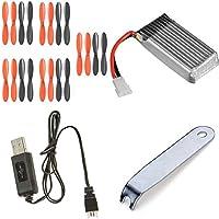 Holy Stone HS170 Predator [QTY: 1] Battery 3.7v 380mAh 25c Li-Po RC Part [QTY: 1] Black Orange Propeller Blades Props 5x Propellers [QTY: 1] Lipo USB Charger any mAh Auto Shut Off w LED [QTY: 1] Remov