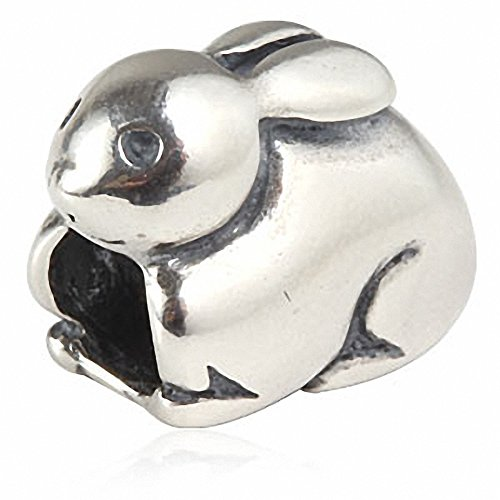 (Easter Rabbit Charm Solid 925 Sterling Silver Bunny Animal Charm for European Style Bracelet (B))
