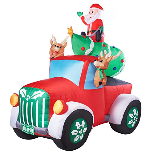 Holiday Time Santa Truck Retro Truck with Reindeer, Airblown Inflatable 8 Feet for $<!--$132.75-->
