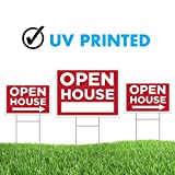 Wall26 - Double Sided Open House Sign with H Stands Real Estate Sign Bundle - Pack of 3 sets, One 18'' x 24'' + Two sets of 12''x18'' With Directionall Arrows (Double Sided Open House Sign)
