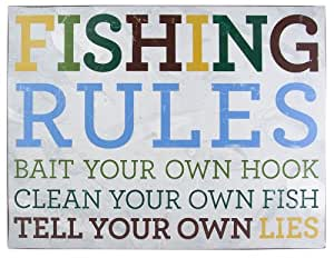 About Face Designs Wooden Wall Décor Plaque, 11.75 by 9-Inch, Fishing Rules