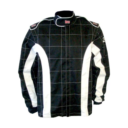 - K1 Race Gear 21-TRI-NW-XL Black/White X-Large Single Layer Triumph PROBAN Cotton SFI Rated Fire Jacket
