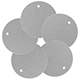 Superior Thick Silicone Hot Pad Trivets Heat Insulated Pads, Cup Coasters & Pans Mat, Jar Opener, Multipurpose for Kitchen & Home, Leak-Proof Nonslip Pack of 5, Light-Grey