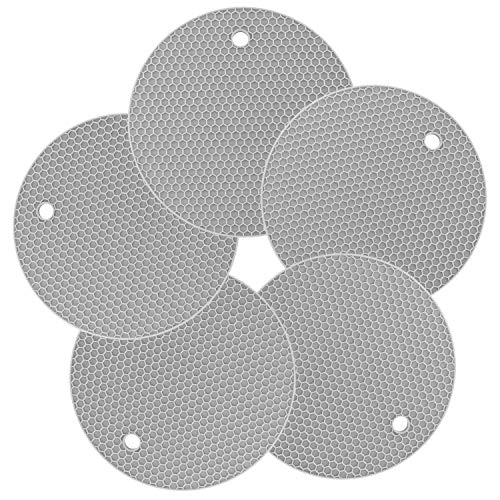 (Superior Thick Silicone Hot Pad Trivets Heat Insulated Pads, Cup Coasters & Pans Mat, Jar Opener, Multipurpose for Kitchen & Home, Leak-Proof Nonslip Pack of 5, Light-Grey )