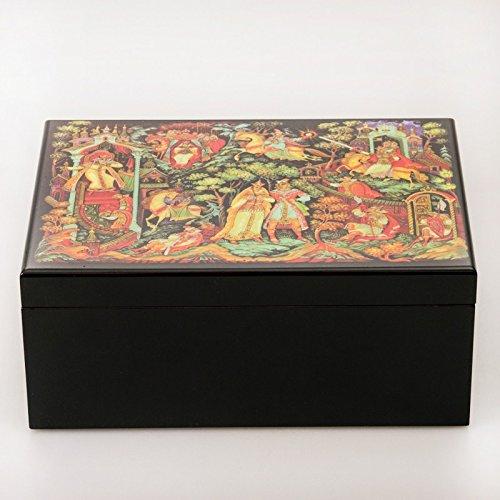 Beautiful Wooden Lacquer Box. Fairytale Tea Bag Storage Box