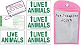 Live Animal Label Set of 5 w/ Pet Passport Pouch PINK