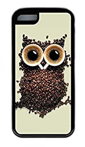 iPhone 5C Case, Personalized Protective Rubber Soft TPU Black Edge Case for iphone 5C - Owl Creat Cover