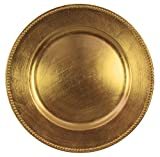 Round Charger Beaded Dinner Plates, Gold 13 inch, Set of 1,2,4,6, or 12 (2)